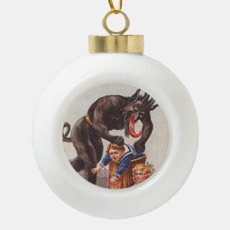 Krampus Kidnapping Children Ceramic Ball Christmas Ornament