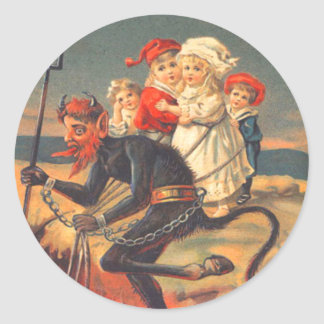 Krampus Kidnapping Children Classic Round Sticker