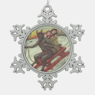 Krampus Kidnapping Children On Toboggan Snowflake Pewter Christmas Ornament