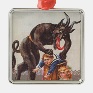 Krampus Kidnapping Children Square Metal Christmas Ornament