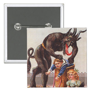 Krampus Kidnapping Children Pinback Button
