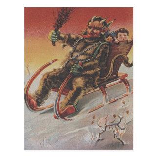 Krampus Kidnapping Children Sleigh Postcard