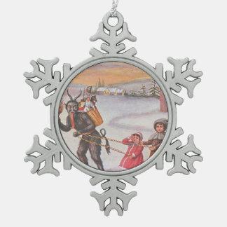 Krampus Kidnapping Children Winter Snowflake Pewter Christmas Ornament