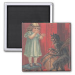 Krampus Kidnapping Girl 2 Inch Square Magnet