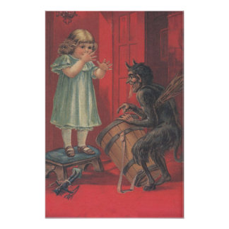 Krampus Kidnapping Girl Toy Posters