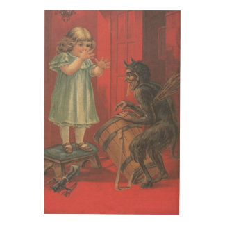 Krampus Kidnapping Girl Toy Wood Wall Decor