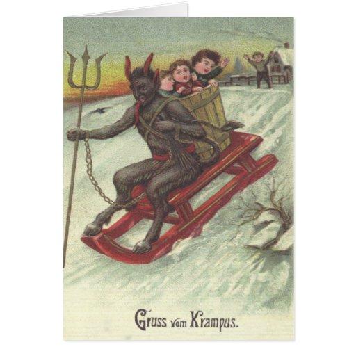 Krampus Kidnapping Kids On Sleigh Cards