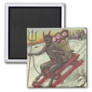 Krampus Kidnapping Kids On Sleigh Pitchfork 2 Inch Square Magnet
