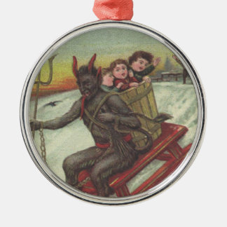 Krampus Kidnapping Kids On Sleigh Pitchfork Metal Ornament