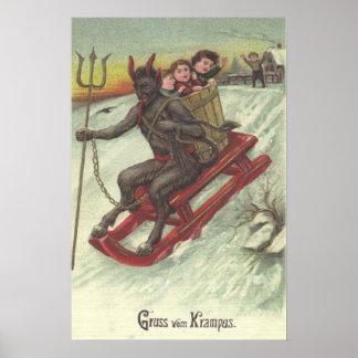 Krampus Kidnapping Kids On Sleigh Pitchfork Poster