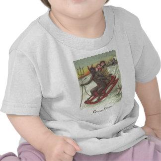Krampus Kidnapping Kids On Sleigh Tee Shirts