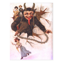 Krampus Kidnapping Women Postcard