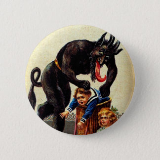 Krampus Kids in Basket Christmas Holiday Xmas Button