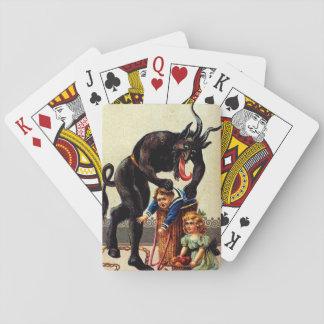 Krampus Kids in Basket Holiday Christmas Cards Poker Cards
