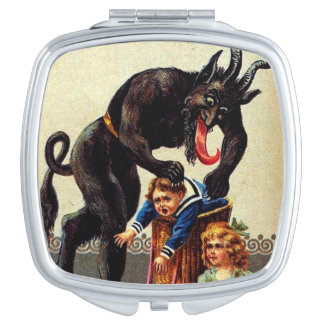 Krampus Kids in Basket Holiday Christmas Compact Compact Mirror