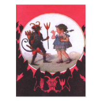 Krampus & Little Girl Postcard