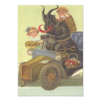 Krampus Obducting Little Girls In Car Card