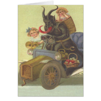 Krampus Obducting Little Girls In Car Greeting Card