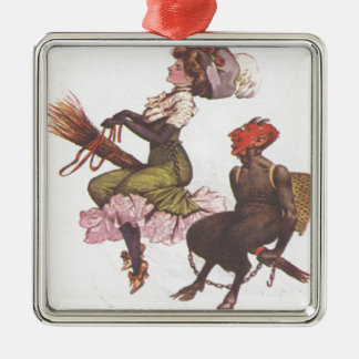 Krampus On Broom With Woman Metal Ornament