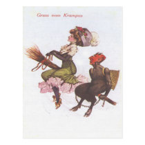 Krampus On Broom With Woman Postcard