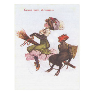 Krampus On Broom With Woman Post Cards