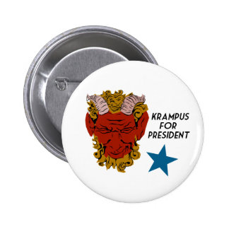 Krampus para el botón de la campaña del presidente pin redondo de 2 pulgadas