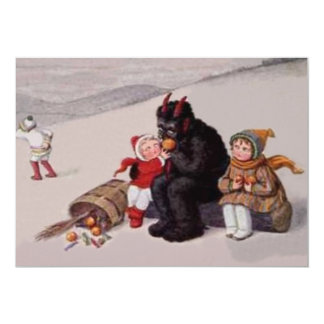 Krampus Playing With Children Snow Card