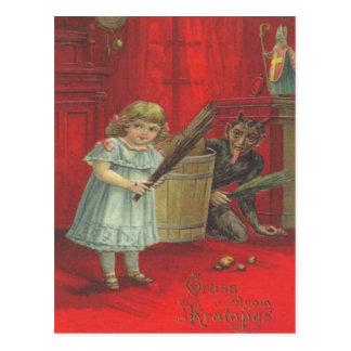 Krampus Playing With Girl Postcards