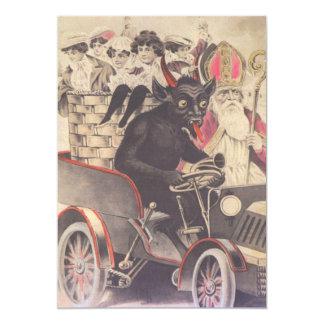 Krampus & Priest Driving With Children Card