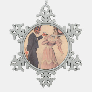 Krampus Proposing To Victorian Woman Snowflake Pewter Christmas Ornament