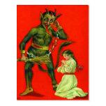 Krampus Punishing A Bad Girl Post Card