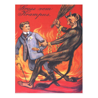 Krampus Punishing Adult Postcard