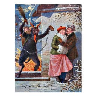 Krampus Punishing Bad Adults Postcard