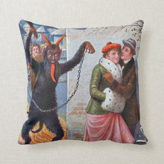Krampus Punishing Bad Adults Throw Pillow