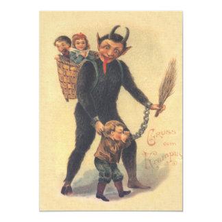 Krampus Punishing Bad Child Card