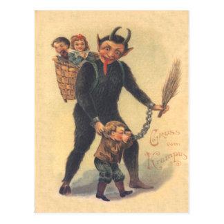 Krampus Punishing Bad Child Postcard