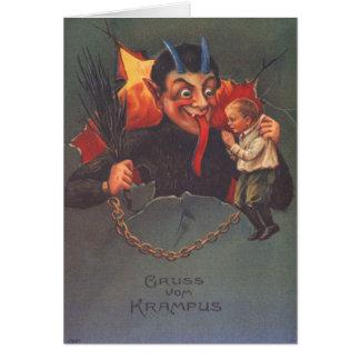 Krampus Punishing Child Greeting Cards
