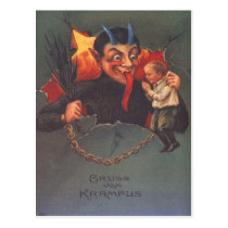 Krampus Punishing Child Postcard