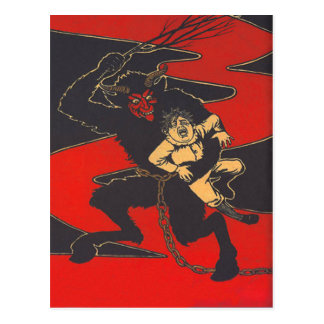 Krampus Punishing Child With Switch Postcard