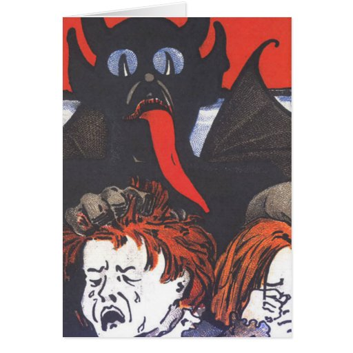 Krampus Punishing Children Card