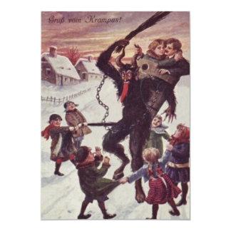 Krampus Punishing Children Snow Card