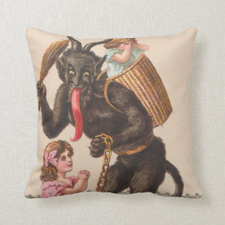 Krampus Punishing Children Switch Chain Throw Pillow