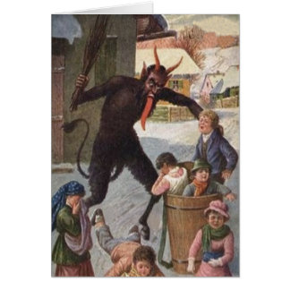Krampus Punishing Kidnapping Children Winter Card