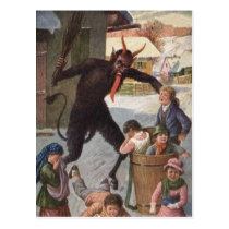 Krampus Punishing Kidnapping Children Winter Postcard