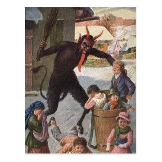 Krampus Punishing Kidnapping Children Winter Postcard