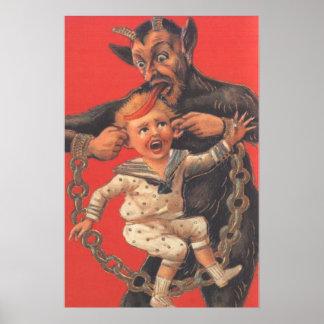 Krampus Punishing Little Boy Ear Poster