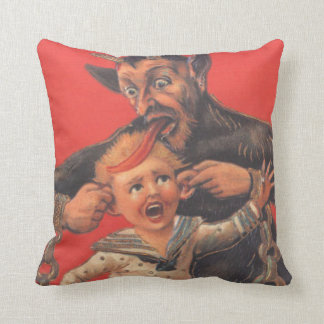 Krampus Punishing Little Boy Ear Throw Pillow