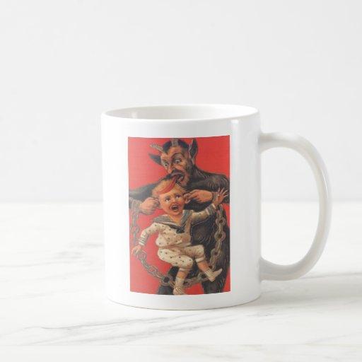 Krampus Punishing Little Boy Classic White Coffee Mug