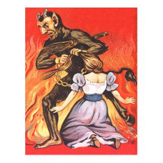 Krampus Punishing Woman Postcards