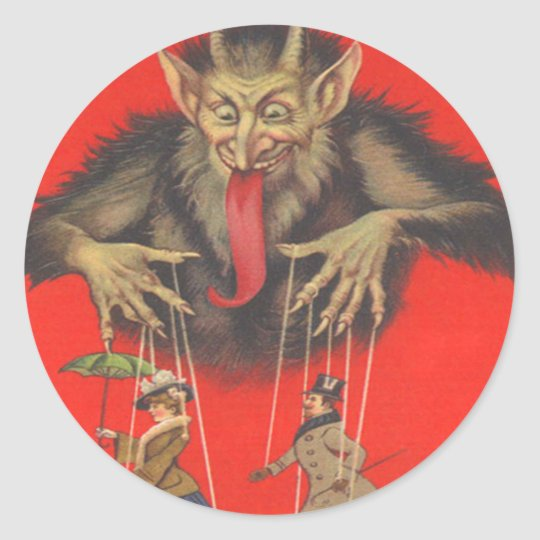 Krampus Puppeteering Adults Classic Round Sticker